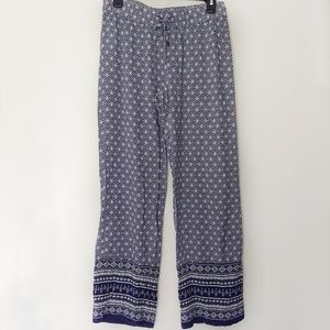 Lucy & Laurel Navy & White Boho Flowy Pants